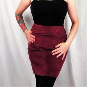 NWT Vintage 90s Oxblood Leather Suede Pencil Skirt